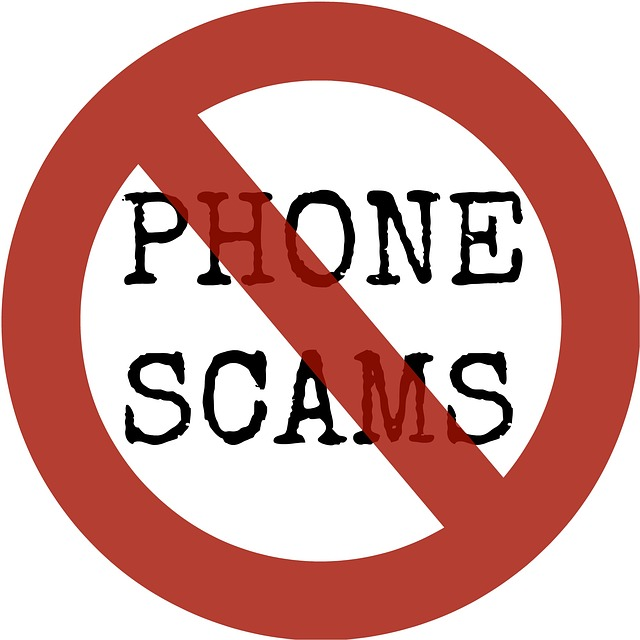 "Image of a prohibited symbol over ""phone scams"""