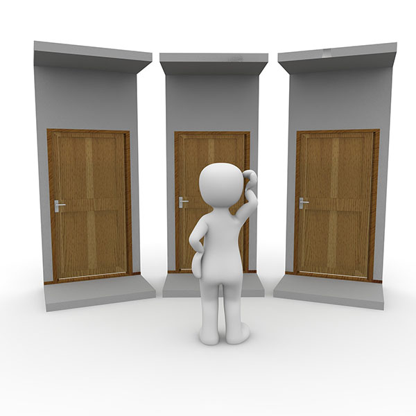 Image of animated man standing in front of three unknown doors, much like robocalls on iphone, you don't know who is there
